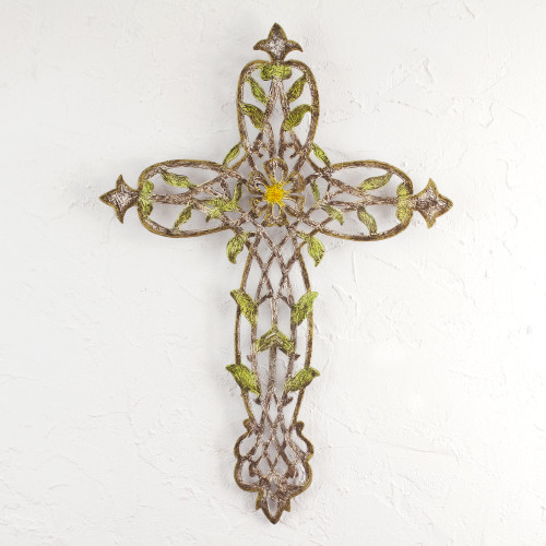 Steel Wall Cross with Floral and Leaf Motifs from Mexico 'Cross of My Country'