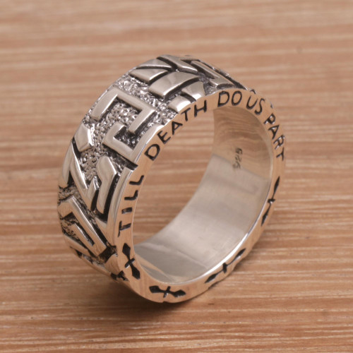 Men's Sterling Silver Wedding Band Ring from Bali 'Everlasting Romance'