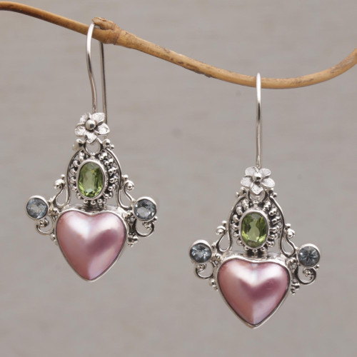 Cultured Pearl Blue Topaz and Peridot Heart Dangle Earrings 'Flying Hearts'