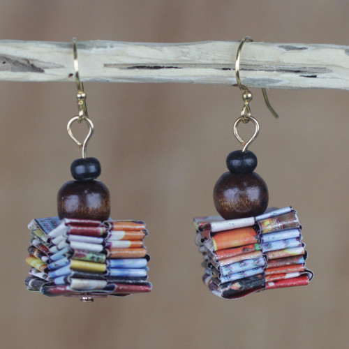Handcrafted Recycled Paper and Wood Dangle Earrings 'Pampam Store'