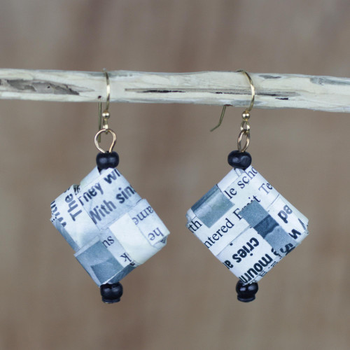 Text-Themed Recycled Paper Dangle Earrings from Ghana 'Avid Reader'
