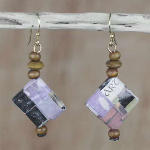 Artisan Crafted Recycled Paper and Wood Earrings from Ghana 'Good-Natured'