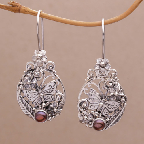 Floral Butterfly Cultured Pearl Earrings from  Bali 'Butterflies and Frangipani'