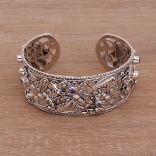 Multi-Gemstone and Sterling Silver Butterflies Cuff Bracelet 'Dazzling Butterflies'