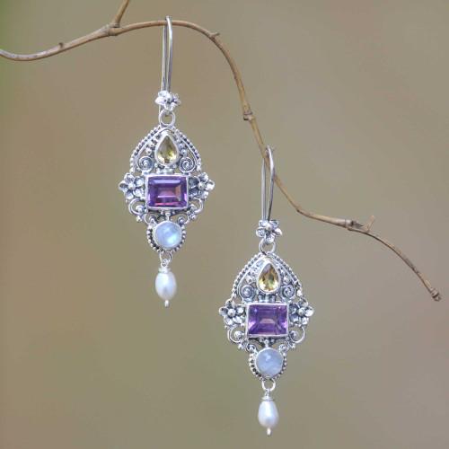 Multi-Gemstone and Ornate Sterling Silver Dangle Earrings 'Intricate Beauty'