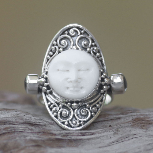 Carved Cow Bone Sterling Silver Blue Topaz Cocktail Ring 'Tranquil in Blue'
