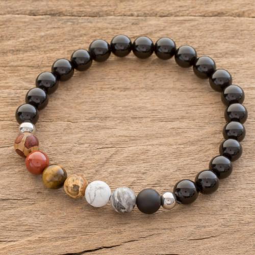 Men's Earth-Tone Multi-Gem Beaded Stretch Bracelet 'Masculine Earth'
