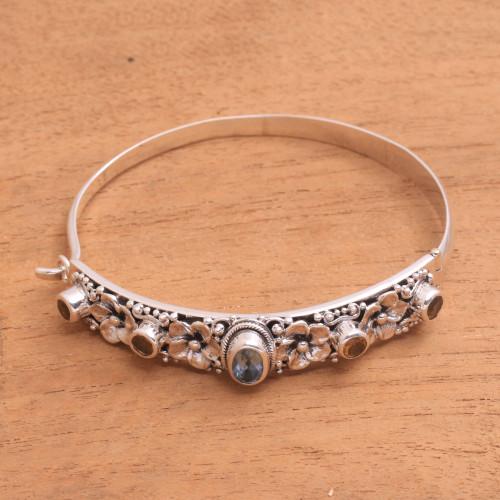 Blue Topaz and Citrine Bangle Bracelet from Bali 'Jepun Dynasty'