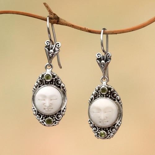 Peridot Face Motif Dangle Earrings from Bali 'Face of the Soul'