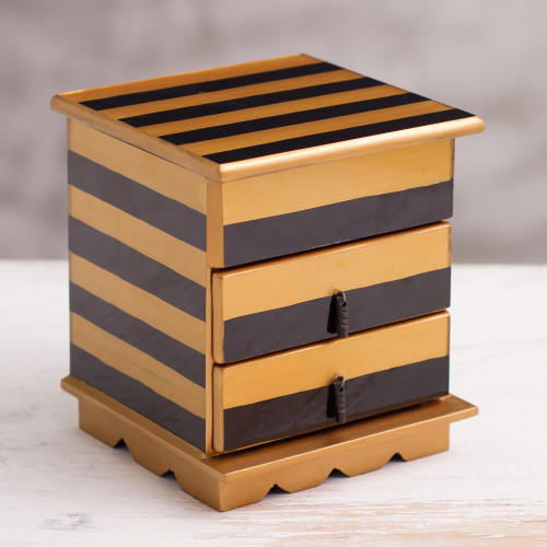 Reverse-Painted Glass Jewelry Chest in Gold and Black 'Modern Gleam'