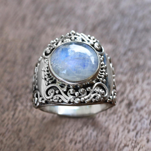 Rainbow Moonstone Cocktail Ring from Bali 'Nighttime Garden'