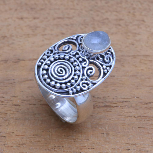 Oval Rainbow Moonstone Cocktail Ring from Bali 'Shield of the Gods'