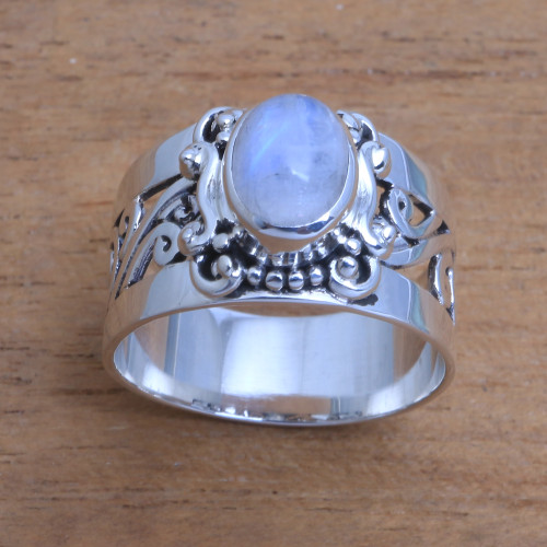 Artisan Crafted Rainbow Moonstone Cocktail Ring from Bali 'Lost Light'