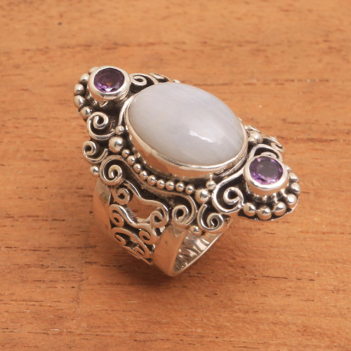 Rainbow Moonstone and Amethyst Cocktail Ring from Bali 'Glimpse of Sukawati'