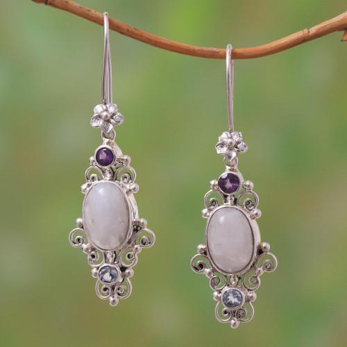 Floral Multi-Gemstone Dangle Earrings from Bali 'Sukawati Floral'