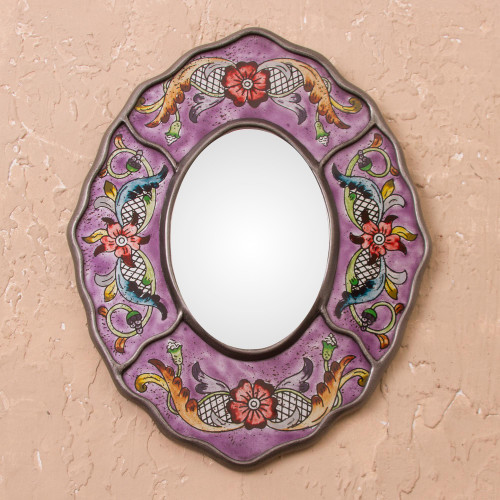 Purple Floral Reverse-Painted Glass Wall Mirror from Peru 'Purple Colonial Wreath'