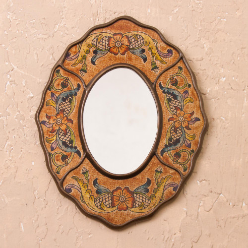 Brown Floral Reverse-Painted Glass Wall Mirror from Peru 'Caramel Colonial Wreath'