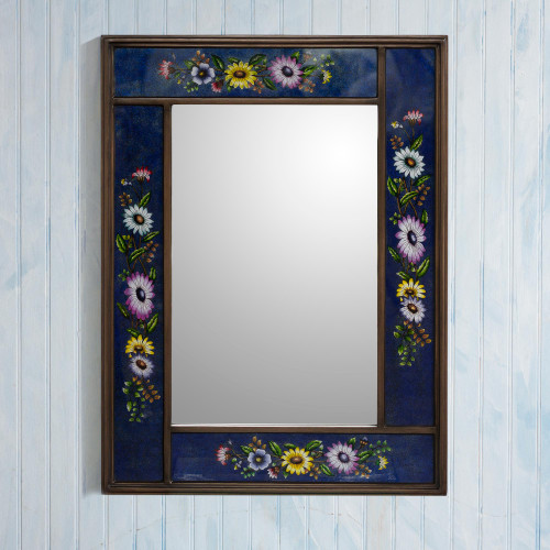 Blue Floral Reverse-Painted Glass Wall Mirror from Peru 'Sweet Floral Ocean'