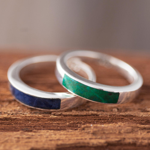 Chrysocolla and Sodalite Band Rings from Peru 'Dual Enchantment'