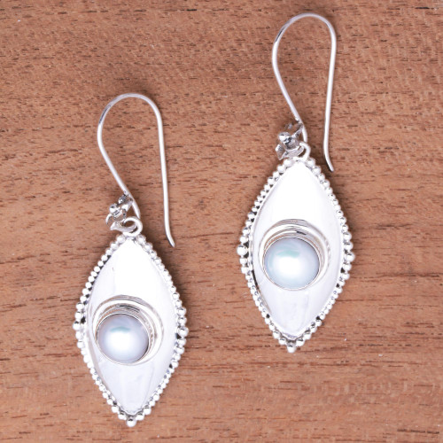 Cultured Pearl Dangle Earrings Crafted in Bali 'Moonlight Shields'