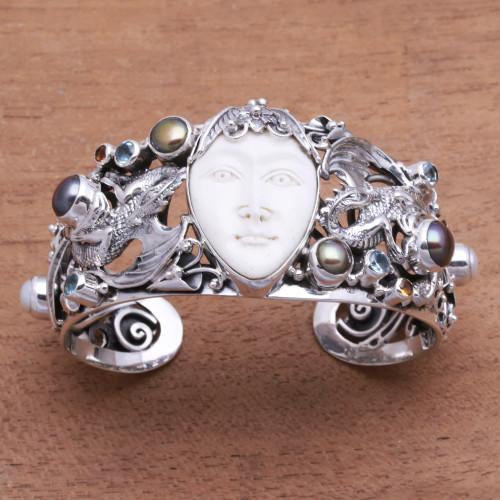 Dragon-Themed Multi-Gemstone Cuff Bracelet from Bali 'Dragon Empire'