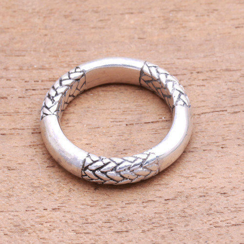 Men's Patterned Sterling Silver Band Ring from Bali 'Strongest Bond'
