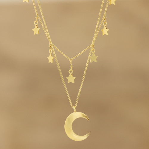 Gold Plated Sterling Silver Moon and Star Necklace 'Celestial Gleam'
