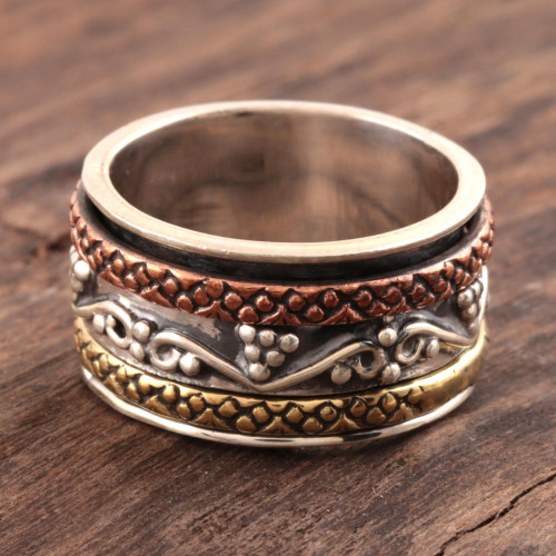 Sterling Silver Spinner Ring with Brass and Copper 'Classic Union'