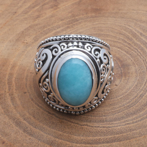 Oval Amazonite Sterling Silver Scroll Motif Cocktail Ring 'Misty Temple'