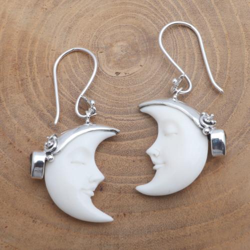 Cow Bone Moon and Citrine Sterling Silver Dangle Earrings 'Sleeping Moon in Yellow'