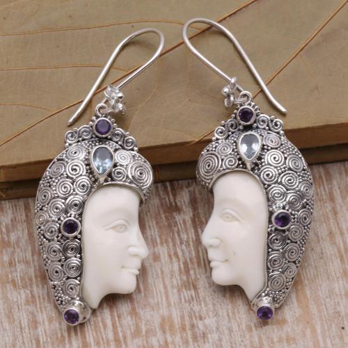 Cow Bone Amethyst Blue Topaz Sterling Silver Dangle Earrings 'Wise and Wonderful'