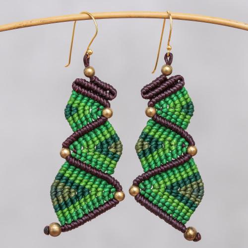 Zigzag Pattern Hand-Knotted Dangle Earrings in Green 'Zigzag Dream in Green'