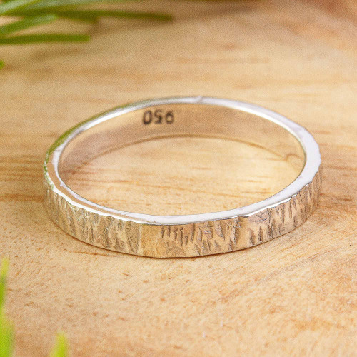 Slender Textured 950 Silver Band Ring for Men and Women 'Subtle Texture'