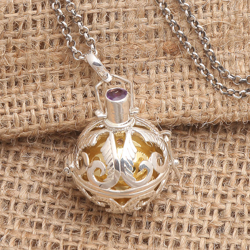 Silver and Amethyst Harmony Ball Necklace with Brass 'Angelic Guardian'
