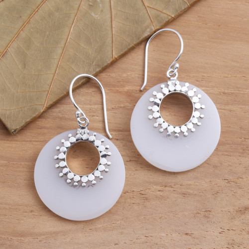 Round Sterling Silver and Resin Dangle Earrings 'Celuk Discs'