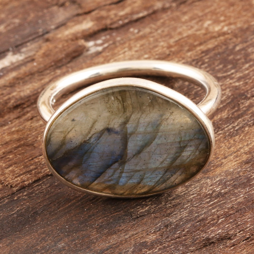 Faceted Labradorite and Sterling Silver Cocktail Ring 'Sonata at Dusk'