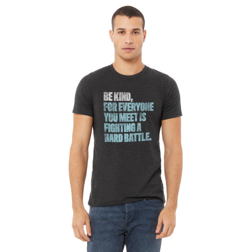 Dark Gray Heather Unisex T-Shirt Super-Soft Cotton-Poly 'Be Kind'
