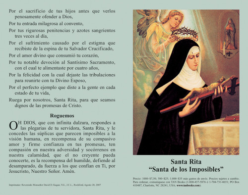 Oración a Santa Rita Prayer Card (Pack of 100)