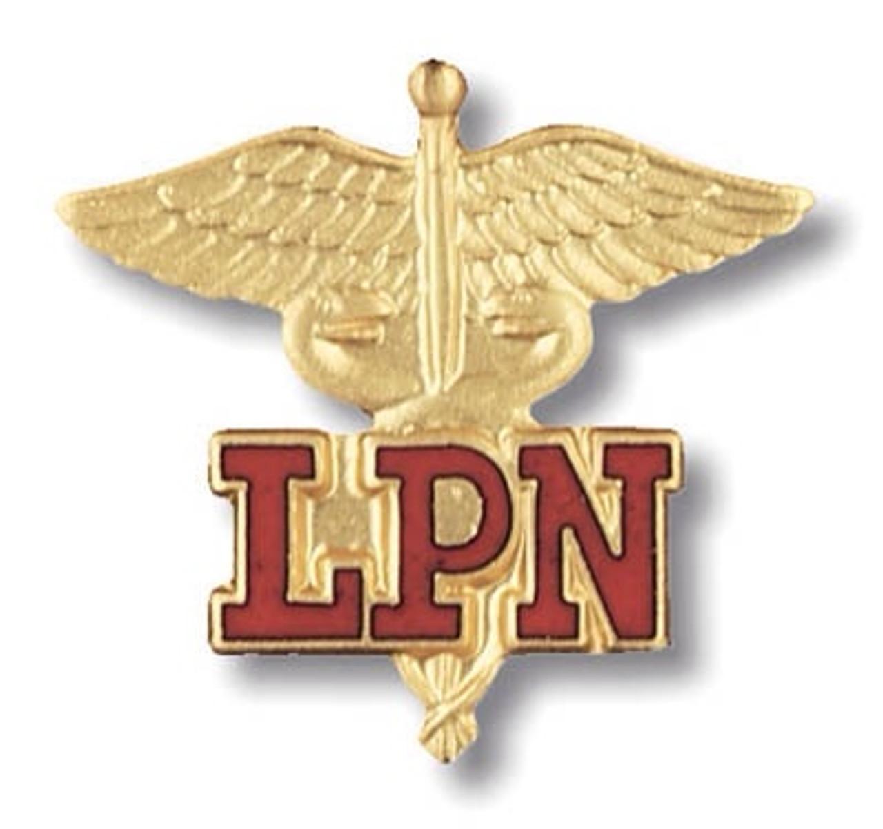 LPN red (Licensed Practical Nurse) Caduceus Emblem Pin