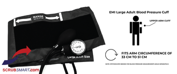 EMI Manual Aneroid Sphygmomanometer Blood Pressure Monitor with XL | Large Adult Cuff - Black - EBL-216