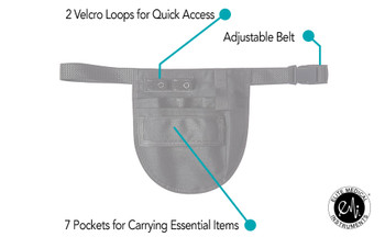 2 velcro loops for quick access. Adjustable belt. 7 pockets for carrying essential items.