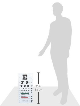 EMI Snellen Eye Test Exam Plastic Wall Chart 22 x 11 in EC-SNW