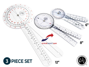 "EMI 3 Piece Goniometer Set. Featuring a 12"", 8"", and 6"" goniometers."