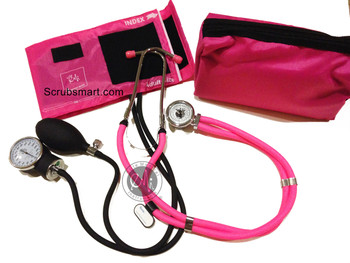 EMI ALL Pink Sprague Rappaport Stethoscope & Pink Aneroid Sphygmomanometer Manual Blood Pressure Set EBS-330