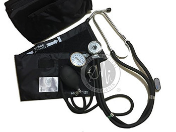 EMI 330-NK - BLACK Sprague Rappaport Stethoscope and Aneroid Sphygmomanometer Blood Pressure Set and Pocket Organizer 6 piece Nurse Nursing Essentials Kit