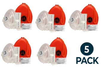 5 Pack - 5 EMI CPR Rescue Mask Pocket Resuscitator , Gloves, Wipe, & ORANGEHard Case with Wrist Strap