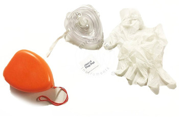 3 Pack - 3 EMI CPR Rescue Mask Pocket Resuscitator , Gloves, Wipe, & ORANGEHard Case with Wrist Strap