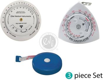 EMI 3 Piece Fitness Body Mass Index Measurement Set: BMI Wheel Calculator, BMI Triangle Calculator Body Tape Measure, and Standard Body Tape Measure