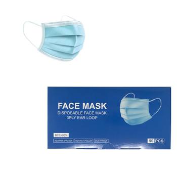 3 Ply Ear Loop Face Mask.