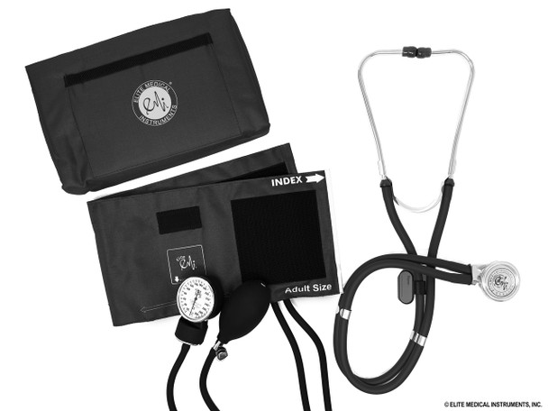 Black Aneroid Sphygmomanometer and Sprague Rappaport Manual Blood Pressure Cuff Set